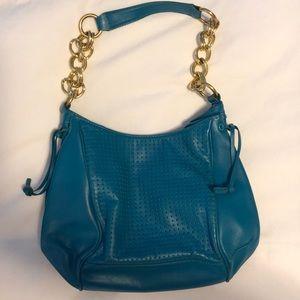 Gianni bini teal leather bag